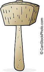 cartoon wooden mallet - freehand drawn cartoon wooden mallet