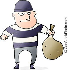 cartoon burglar with loot bag - freehand drawn cartoon...
