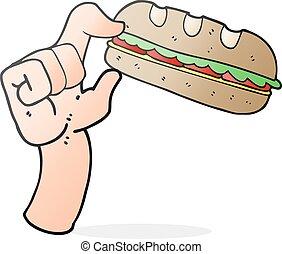 cartoon sub sandwich - freehand drawn cartoon sub sandwich