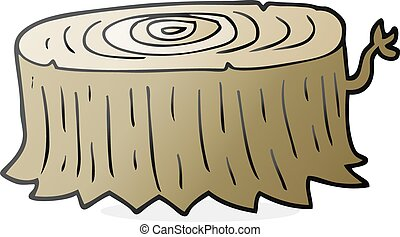 cartoon tree stump - freehand drawn cartoon tree stump