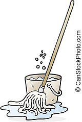 cartoon mop and bucket - freehand drawn cartoon mop and...