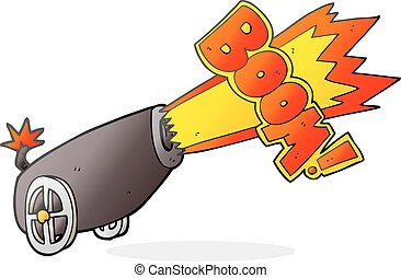cartoon cannon shooting - freehand drawn cartoon cannon...