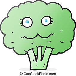 cartoon broccoli - freehand drawn cartoon broccoli