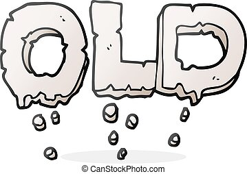 cartoon word old - freehand drawn cartoon word old