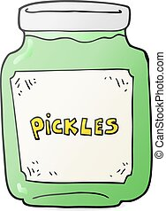 cartoon pickle jar - freehand drawn cartoon pickle jar