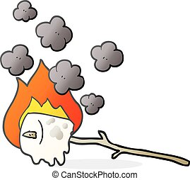 cartoon burning marshmallow - freehand drawn cartoon burning...