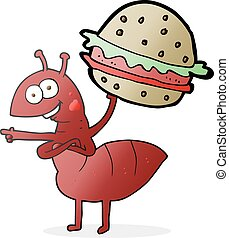 cartoon ant carrying food - freehand drawn cartoon ant...