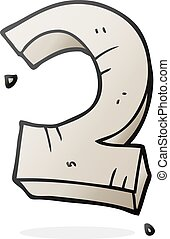 cartoon stone number two - freehand drawn cartoon stone...