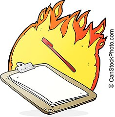 cartoon clip board on fire - freehand drawn cartoon clip...