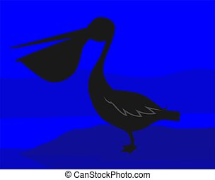 Pelican	 - Illustration of a Pelican in blue background