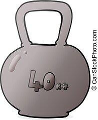 cartoon 40kg kettle bell weight - freehand drawn cartoon...