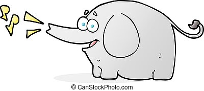 cartoon trumpeting elephant - freehand drawn cartoon...