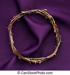 the crown of thorns of Jesus Christ - high-angle shot of a...