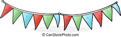 cartoon bunting flags - freehand drawn cartoon bunting flags