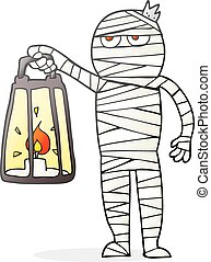cartoon mummy - freehand drawn cartoon mummy