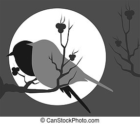 Birds - Illustration of two birds sitting on a branch of...