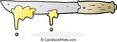 cartoon butter knife - freehand drawn cartoon butter knife