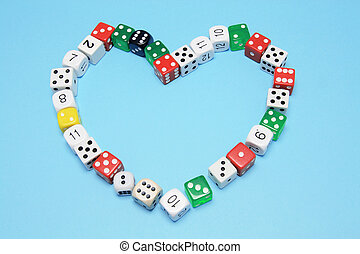 Dice in Love Heart Shape