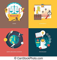 Vector set of flat design illustration concepts for civics...