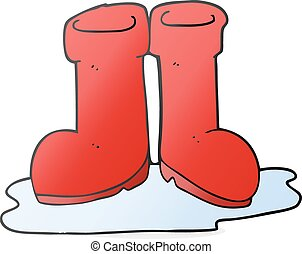 cartoon wellington boots in puddle - freehand drawn cartoon...
