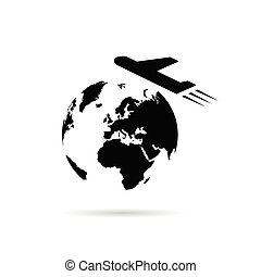 planet earth with airplane illustration