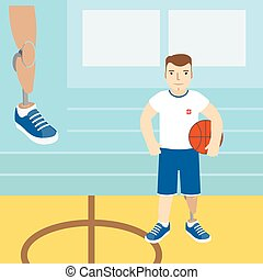A man with a prosthetic leg, holding a basketball.Vector illustration.Flat icon.