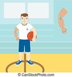 Man with prosthetic arm, holding a basketball.Vector illustration.Flat icon.