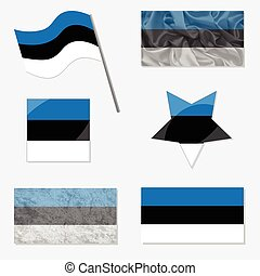Set with Flags of Estonia