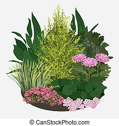 Illustration of Garden flower bed - Garden landscapes,...
