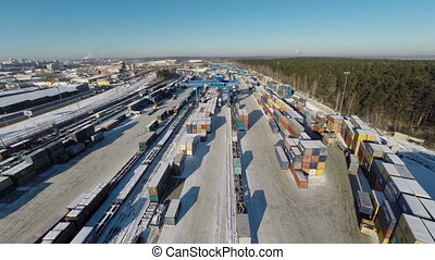 aerial view: area warehouse with railway containers - area...