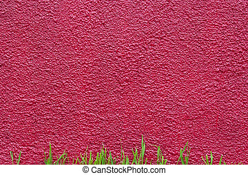 crimson plastered painted wall and grass - crimson rough...