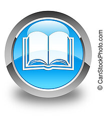 Book icon glossy cyan blue round button