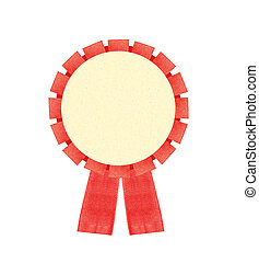 Blank red award winning ribbon rosette isolated on White...