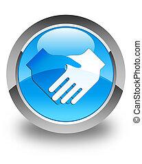 Handshake icon glossy cyan blue round button