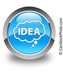 Idea bubble icon glossy cyan blue round button