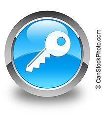Key icon glossy cyan blue round button