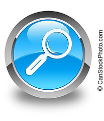 Magnifying glass icon glossy cyan blue round button