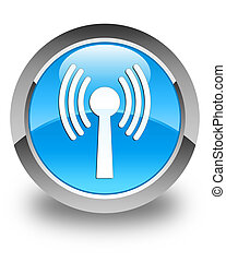 Wlan network icon glossy cyan blue round button