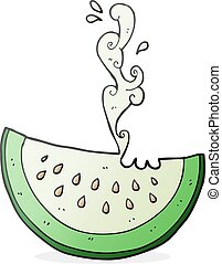 cartoon melon slice - freehand drawn cartoon melon slice