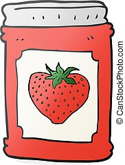 cartoon strawberry jam jar