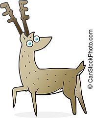 cartoon stag - freehand drawn cartoon stag