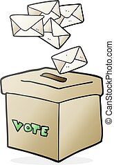 cartoon ballot box - freehand drawn cartoon ballot box