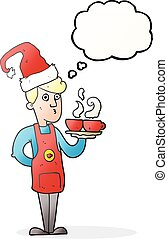 thought bubble cartoon barista serving coffee at christmas -...