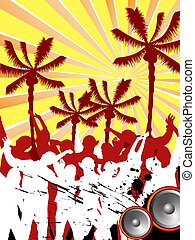 beach party - vector illustration of people silhouettes...