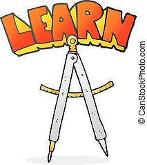 cartoon maths compass - freehand drawn cartoon maths compass