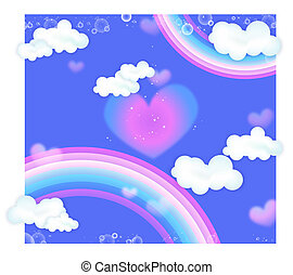 rainbow and heart - a hear in the middle of blue sky with...