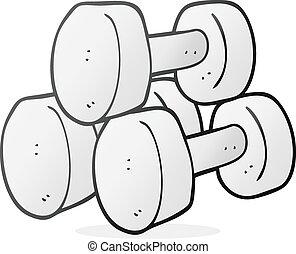 cartoon dumbbells - freehand drawn cartoon dumbbells