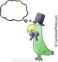 thought bubble cartoon posh parrot - freehand drawn thought...