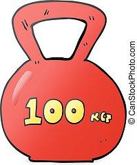 cartoon 100kg kettle bell weight - freehand drawn cartoon...