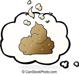thought bubble cartoon gross poop - freehand drawn thought...